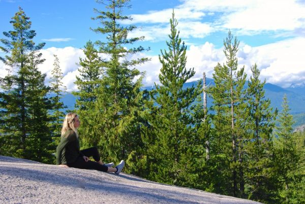 Blonde enjoying the view at the Sea to Sky Gondola