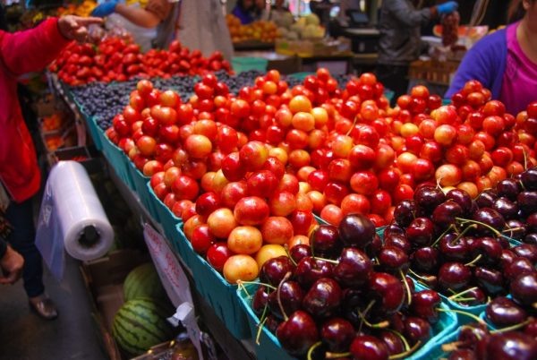 Best Food in Vancouver - Cherries and fruit at Granville Island Public Market