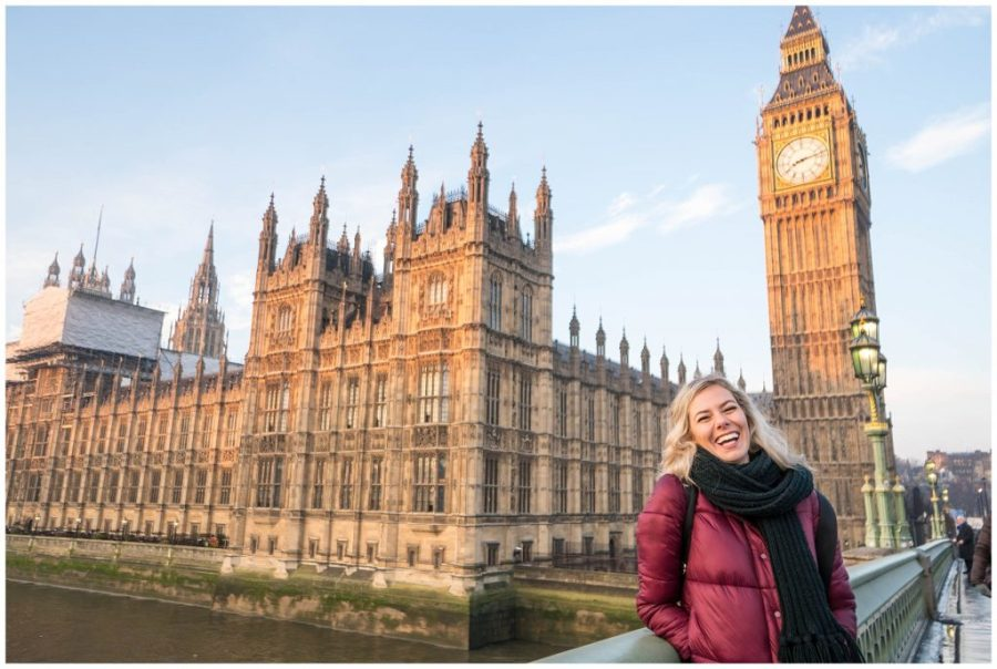 48 Hours in London; street lamp and Big Ben blonde girl laughing