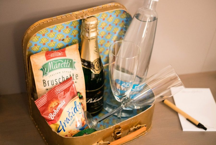 Miss Sophie's Hotel Prague hotel room interior amenities welcome basket