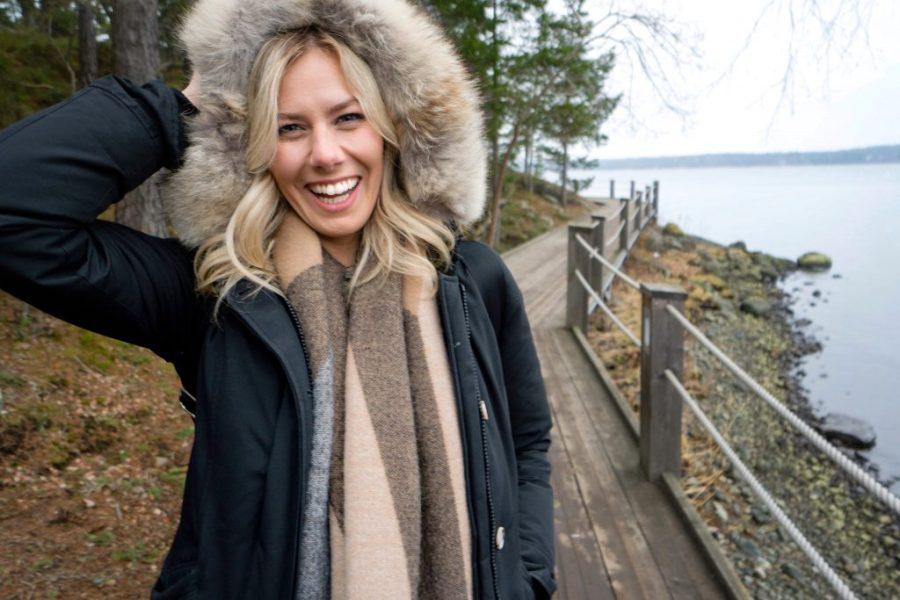 Winter Wonderland Lookbook; blonde girl in Europe Woolrich parka