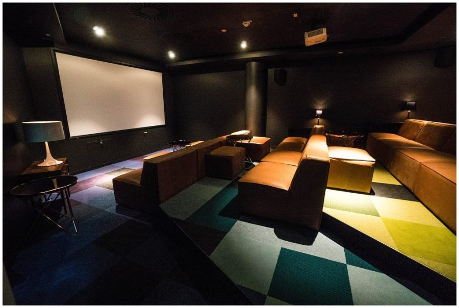 Staying at Ruby Marie; interior movie lounge