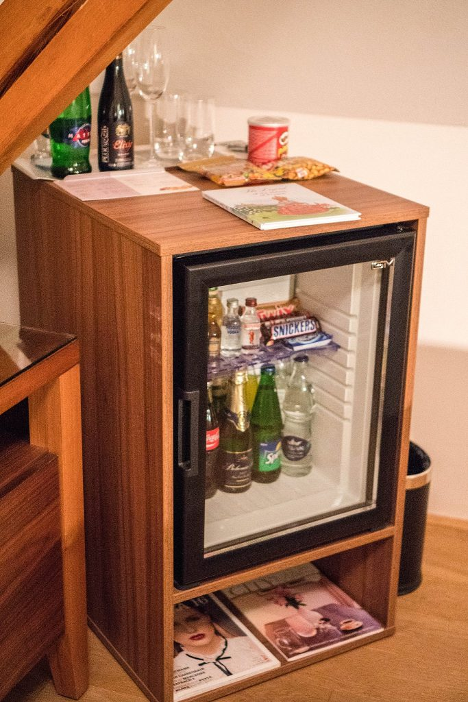 Staying at Hotel Golden Key; in room mini fridge