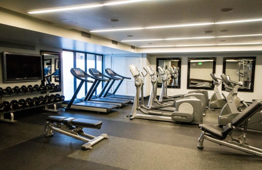Staying at the Hard Rock Hotel San Diego; Rock Spa Gym interior