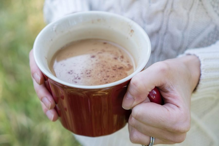 Adaptogenic Herbs; Chaga and Four Sigmatic Hot Cocoa with Reishi outdoors in a mug
