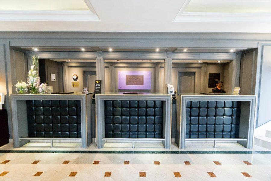 Staying at Sofitel Bogota; interior lobby check in