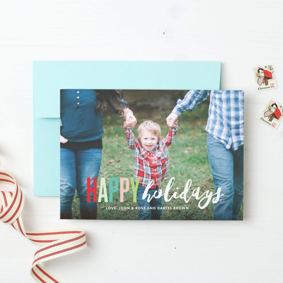 Basic Invite holiday cards child photo Christmas card