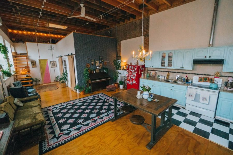 Staying at The Funky Loft in Brooklyn, New York; interior retro apartment