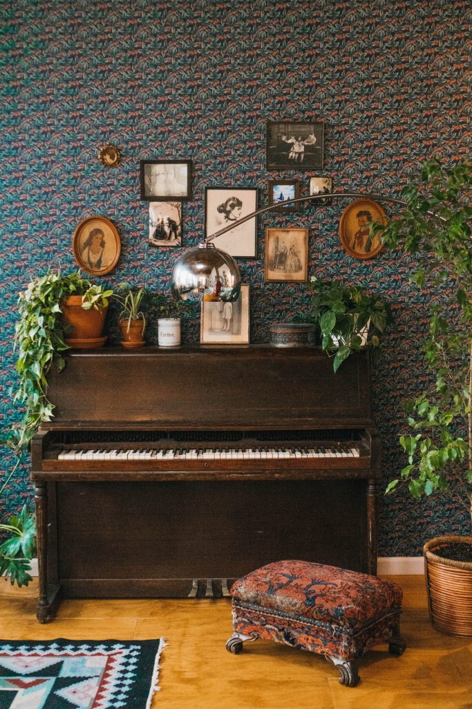 Staying at The Funky Loft in Brooklyn, New York; interior retro apartment details vintage piano