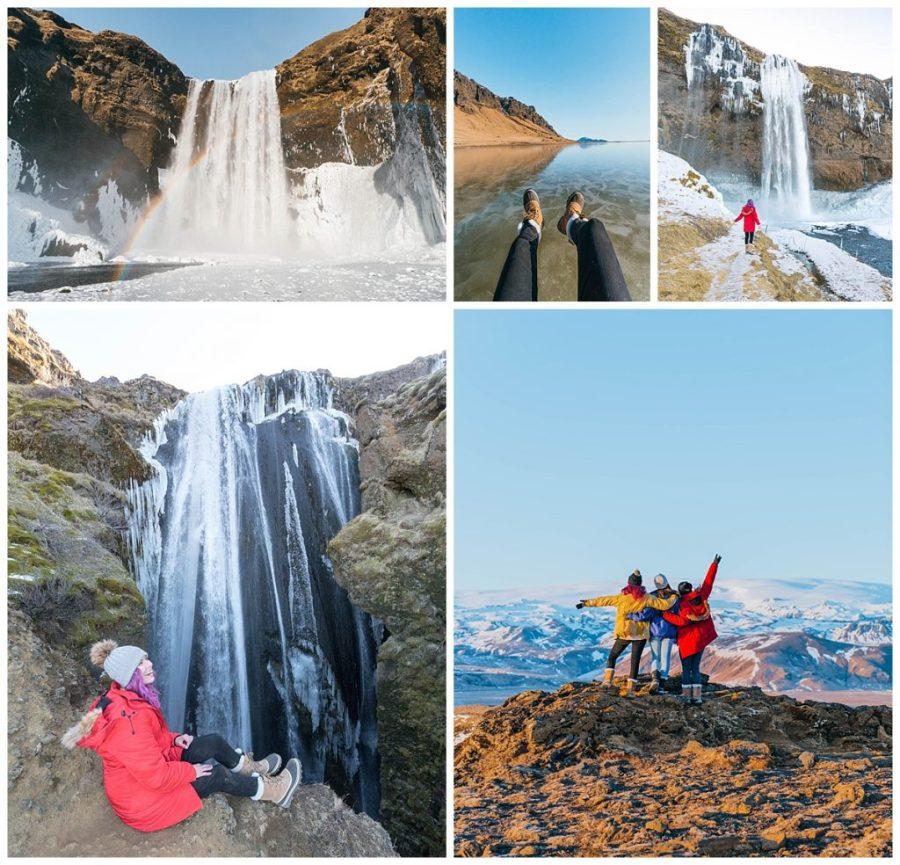 travel the ring road in Iceland; Seljalandsfoss Waterfall,Gljúfrabúi Waterfall, Holtsós Lagoon,Skógafoss Waterfall,Dyrhólaey