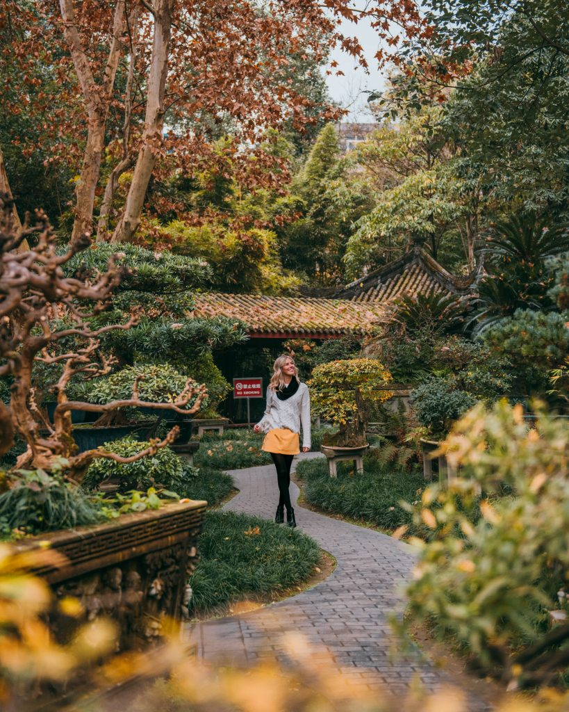 visit Chengdu China; People's park girl walking with bonsai trees and fall colors yellow skirt