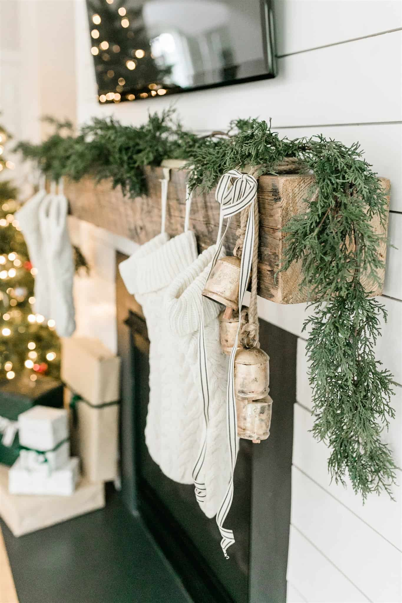 Beautiful neutral stockings, including linen stockings, white knit stockings, fuzzy stockings, and velvet stockings.  Stockings under $30 and Christmas stockings for every budget.  #amazonhome #christmasstockings #whitestockings #knitstockings #velvetstockings #linenstockings #christmasmantel #christmaslivingroom