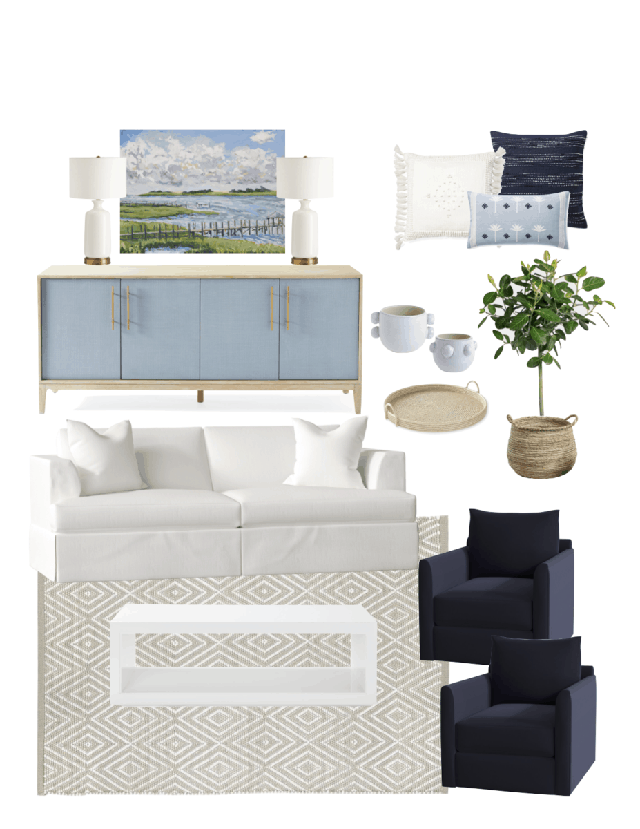 Living Room Inspiration - The Coastal Oak.  A coastal inspired living room with several seating options, neutral beach design, and blue decor.  #serenaandlily #thecoastaloak #coastaldecor #beachdecor #livingroom