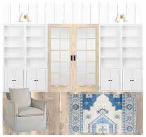 The Coastal Oak - Coastal office inspiration with shared desks for kids and adults, built-ins, and pocket doors. #coastaldecor #builtins #officedecor