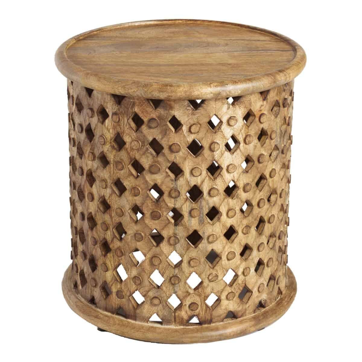 Round Lattice Carved Wood Accent Table