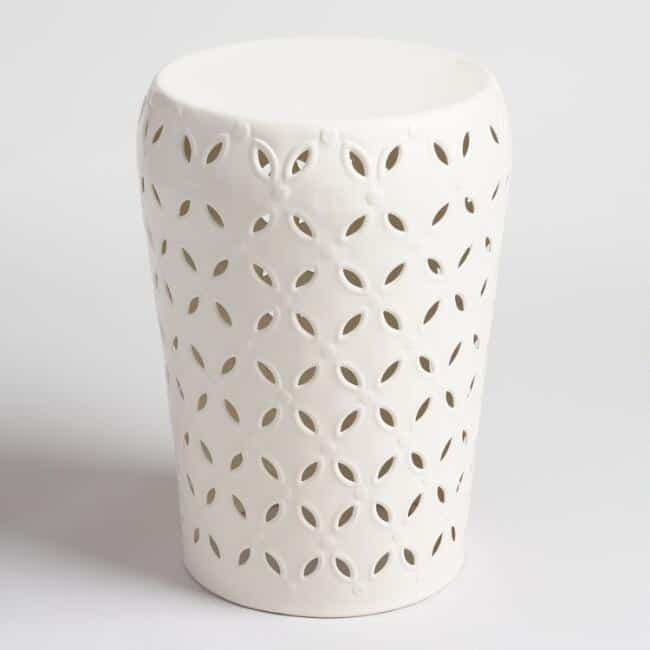White Punched Metal Lili Accent Stool