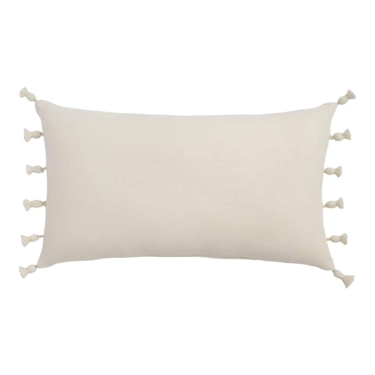 Woven Tasseled Indoor Outdoor Lumbar Pillow