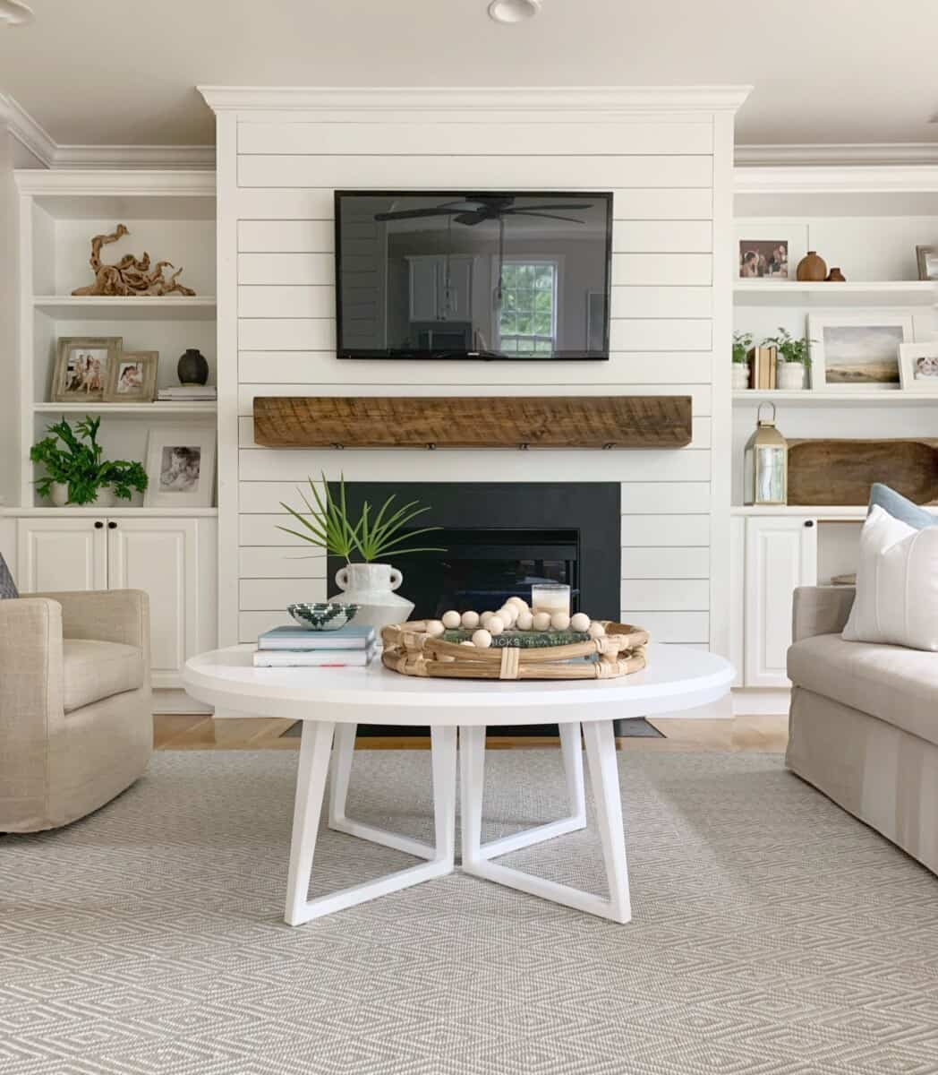 Coastal inspired living room - The Coastal Oak Blog.  #coastalhome #coastalliving #spindlechair #spoolchair #accentchair #fusionpaint #fusion #mineralpaint #serenaandlily #birchlane #livingroomfurniture #livingroomchairs