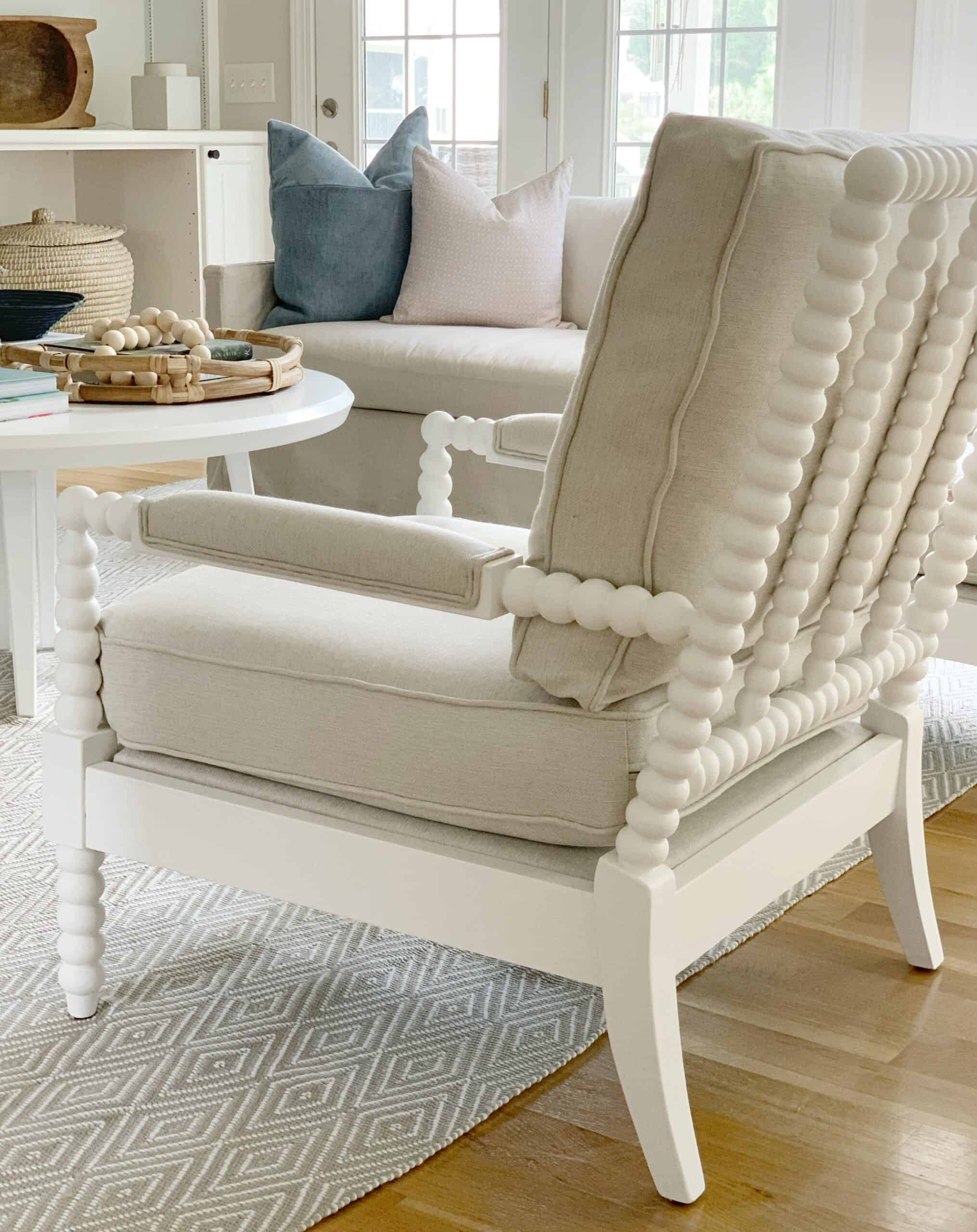 Spindle chair round up with splurge and save options. #coastalhome #coastalliving #spindlechair #spoolchair #accentchair #fusionpaint #fusion #mineralpaint #serenaandlily #birchlane #livingroomfurniture #livingroomchairs