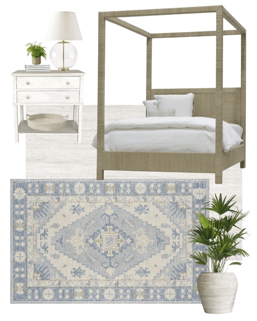 Our coastal bedroom makeover, with coastal decor inspiration like vintage hand knotted rugs, a woven canopy bed, and more!  #wovenbed #coastaldecor #coastalhome #masterbedroom #bedroomdecor #coastalbedroom #canopybed #vintagerug #vintagerugbedroom