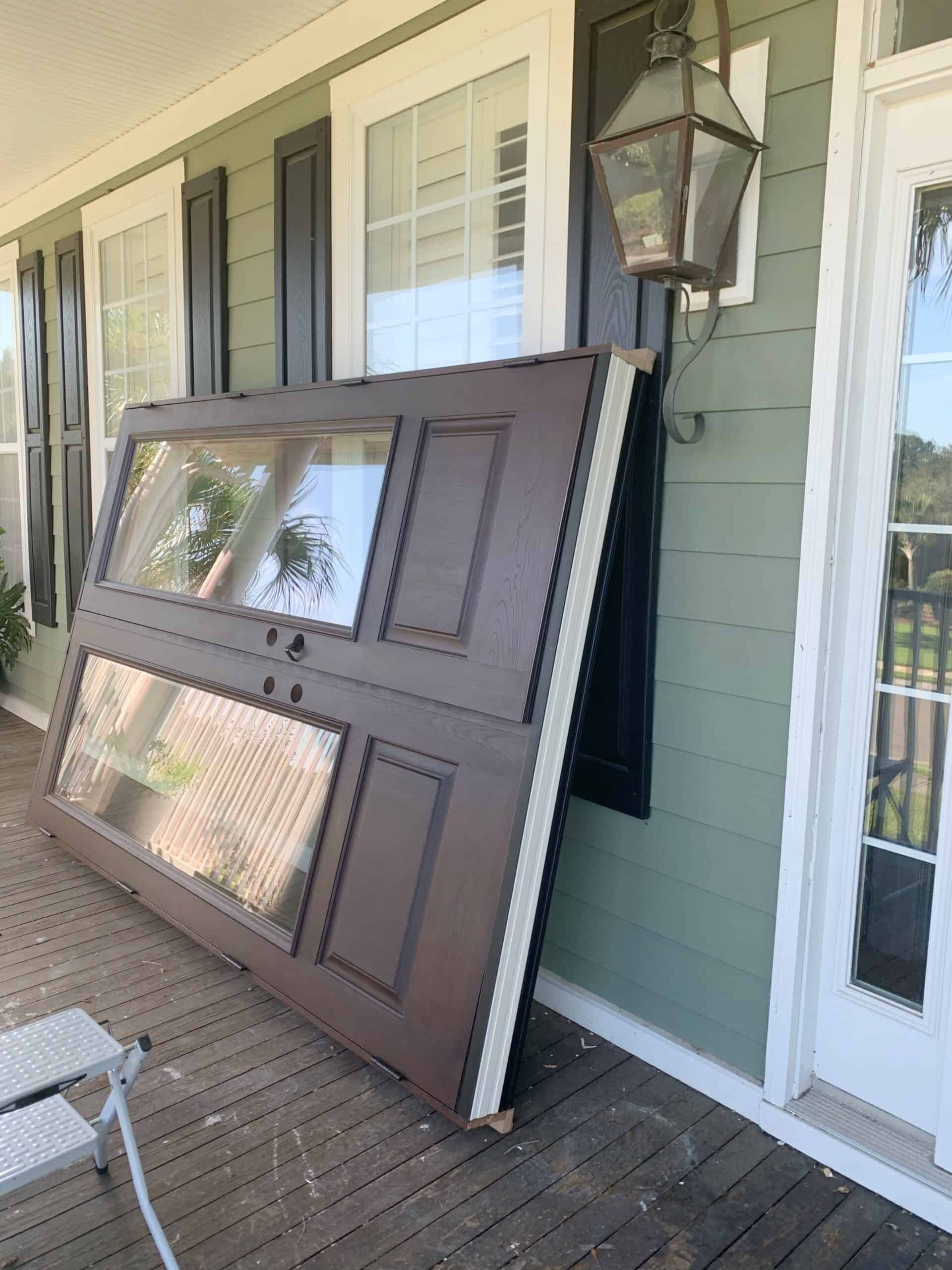 How we replaced our single front door with double glass front doors.  #frontdoors #doors #frontporch #southernliving #beachhouse #coastalcottage #frontdoordesign #doublefrontdoors #jeldwen