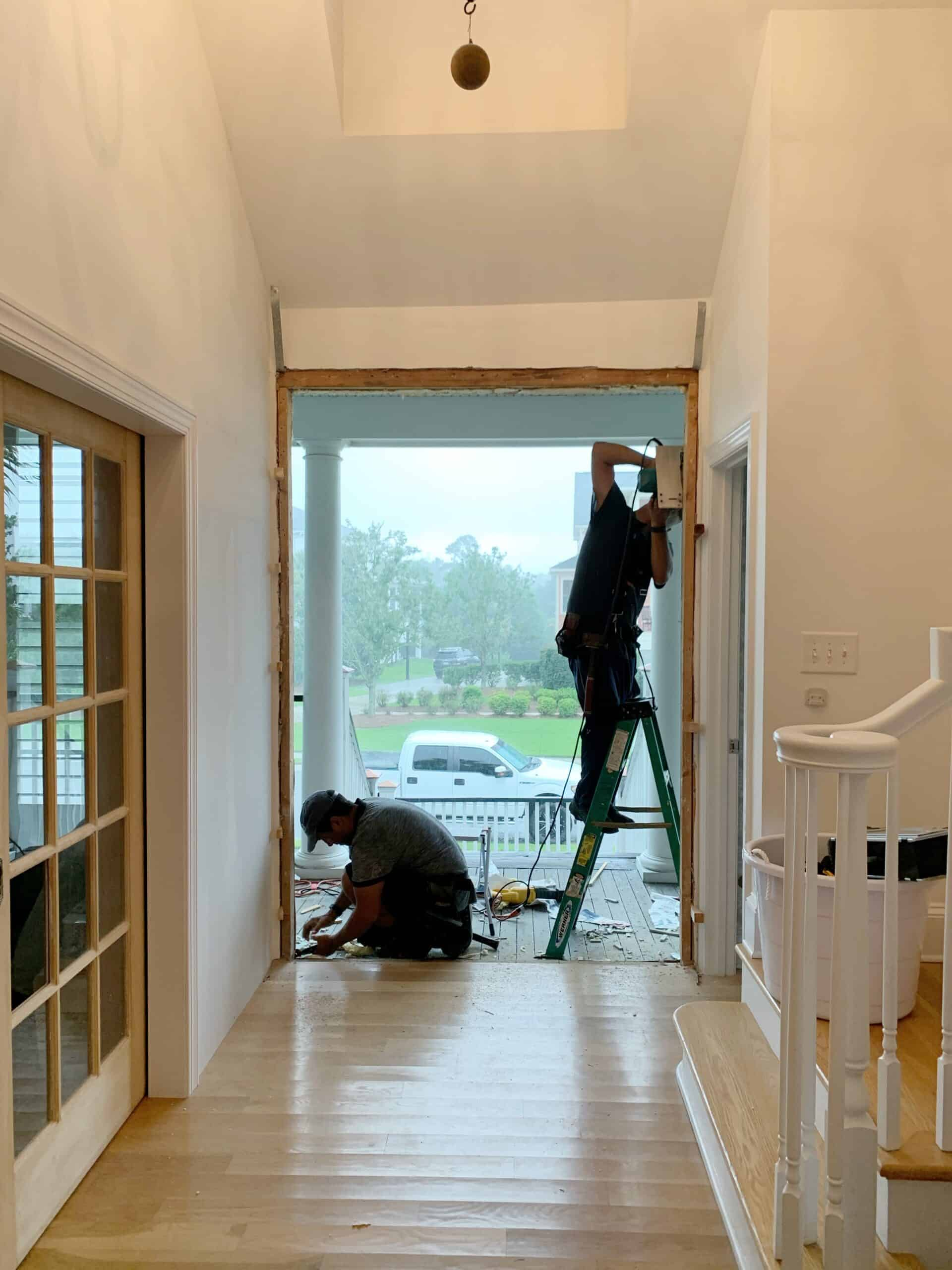 How we replaced our single front door with double glass front doors.  #frontdoors #doors #frontporch #southernliving #beachhouse #coastalcottage #frontdoordesign #doublefrontdoors #jeldwen