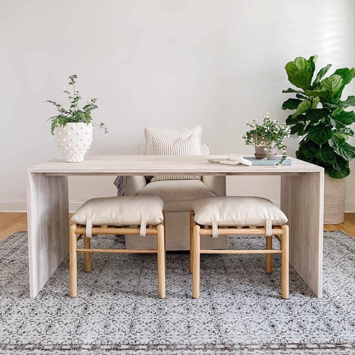 Our home office with a refinished u shaped oak desk and blue vintage rug from Revival Rugs. #blue #bluerug #coastaloffice #homeoffice #refinisheddesk #officedesk #vintagerug #vintagerugs #handknottedrug #turkishrug #blueturkishrug