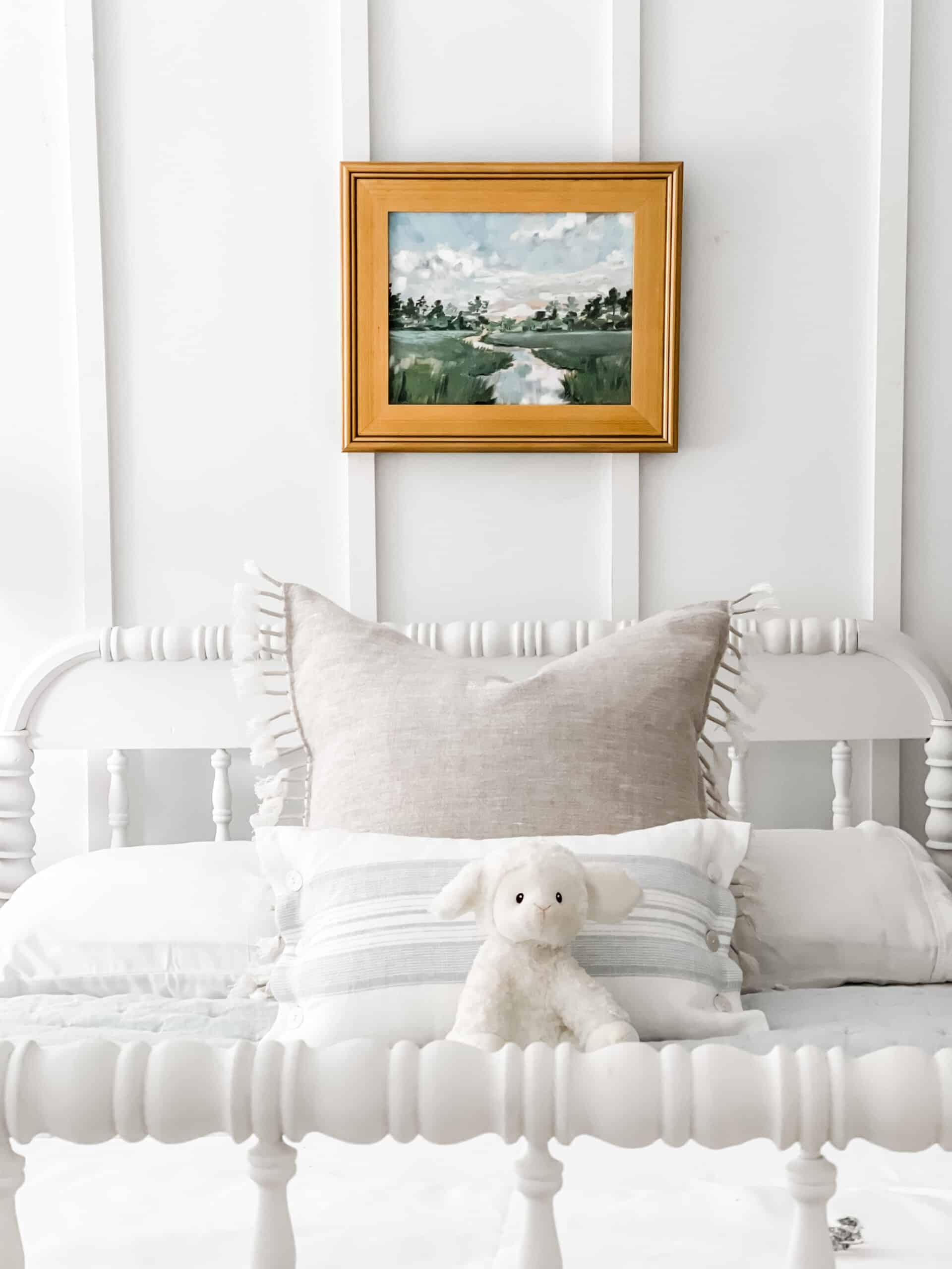 Jenny Lind bed in coastal kids bedroom
