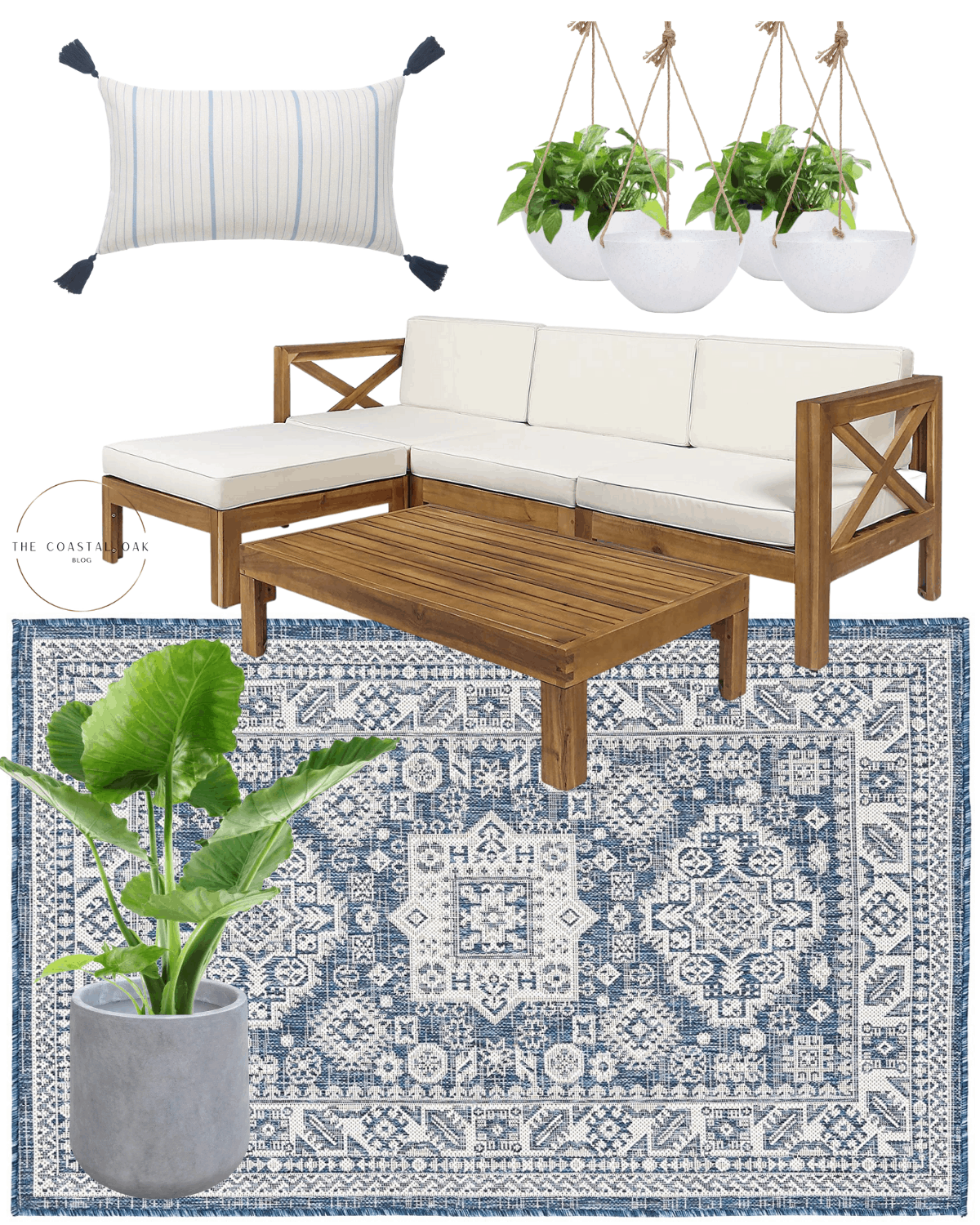 Outdoor sectional with home decor ideas.