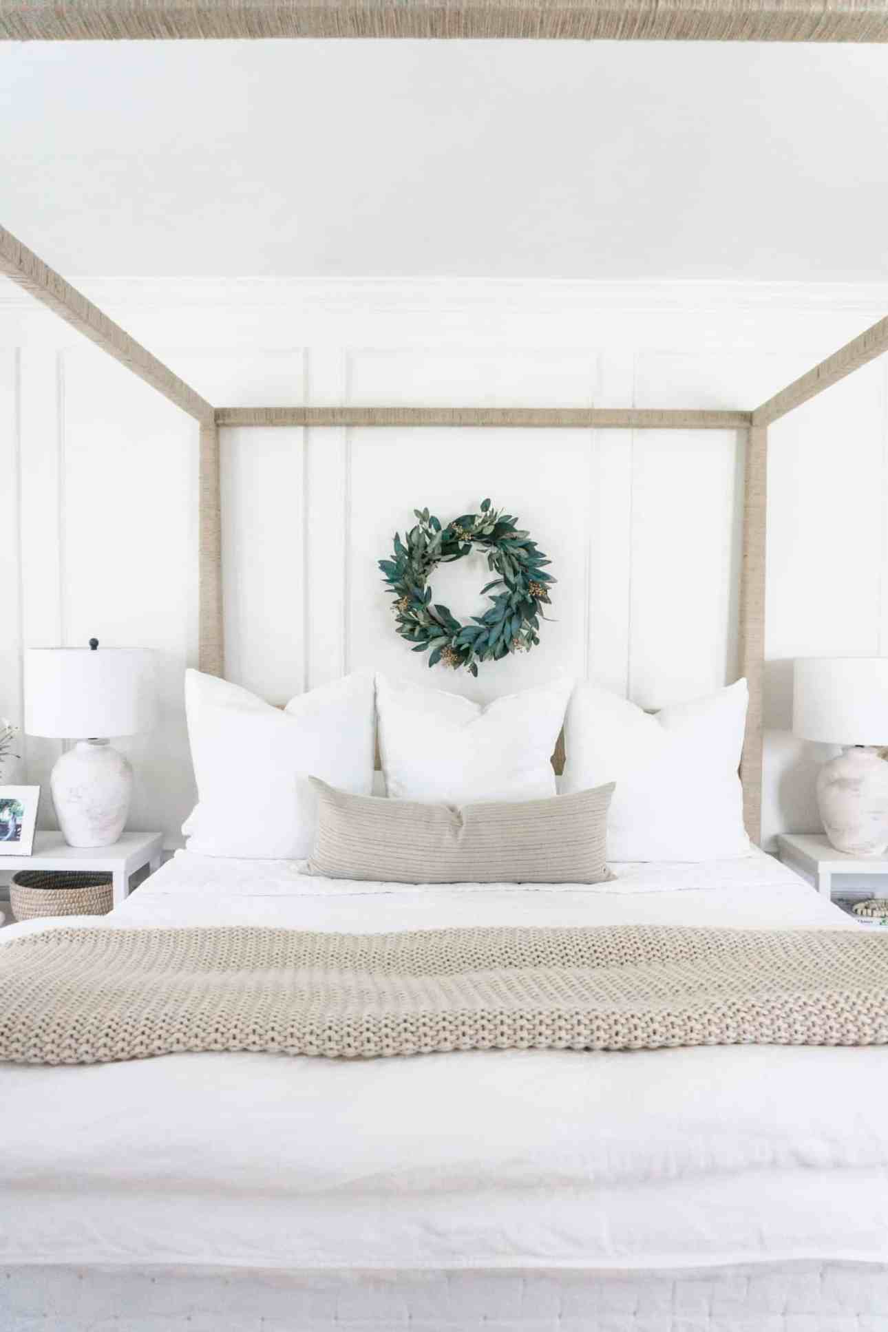 White linen bedding makeover for our main bedroom using Serena & Lily.