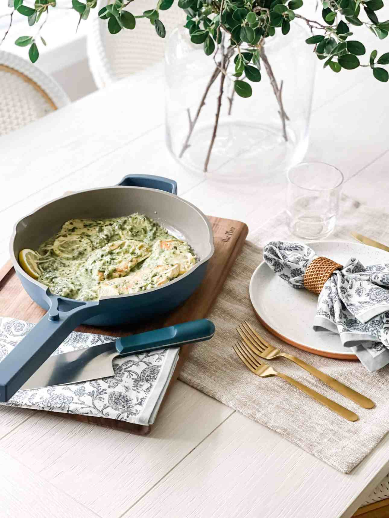 Cooking chicken piccata in the Always Pan from Our Place and setting a tablescape.