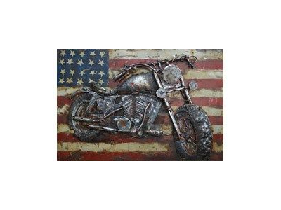 motorcycle on american flag