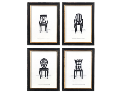 set of 4 chair prints