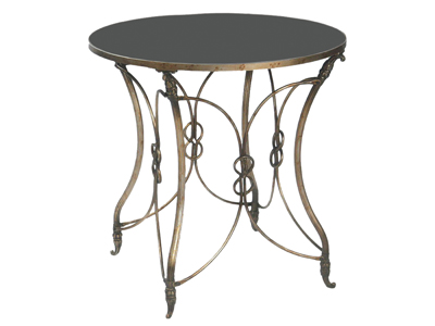 bronze end table with black top