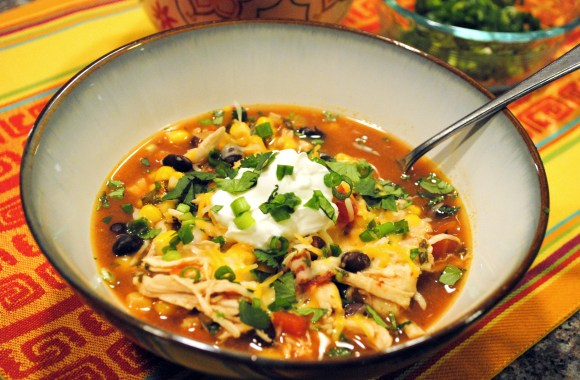 Skinny Crock Pot Chicken Enchilada Soup