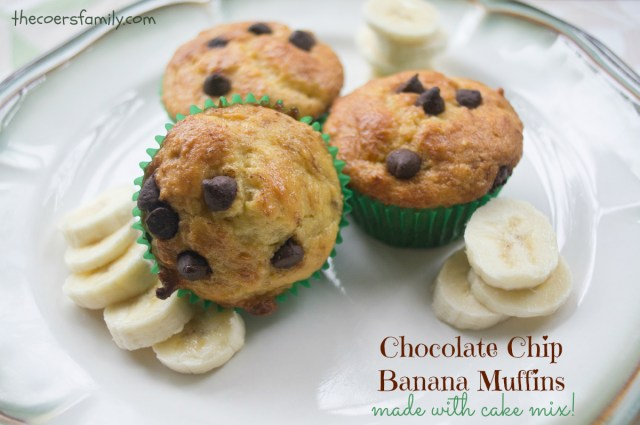 Chocolate Chip Banana Muffins made with Cake Mix
