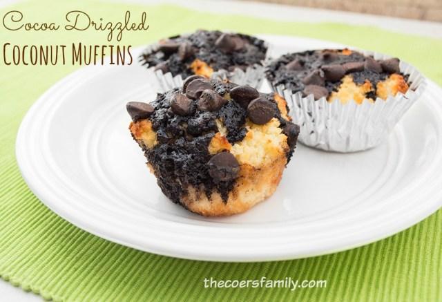 Cocoa Drizzled Coconut Muffins