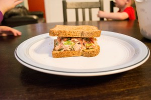 making a Trim Healthy Mama Tuna Sandwich