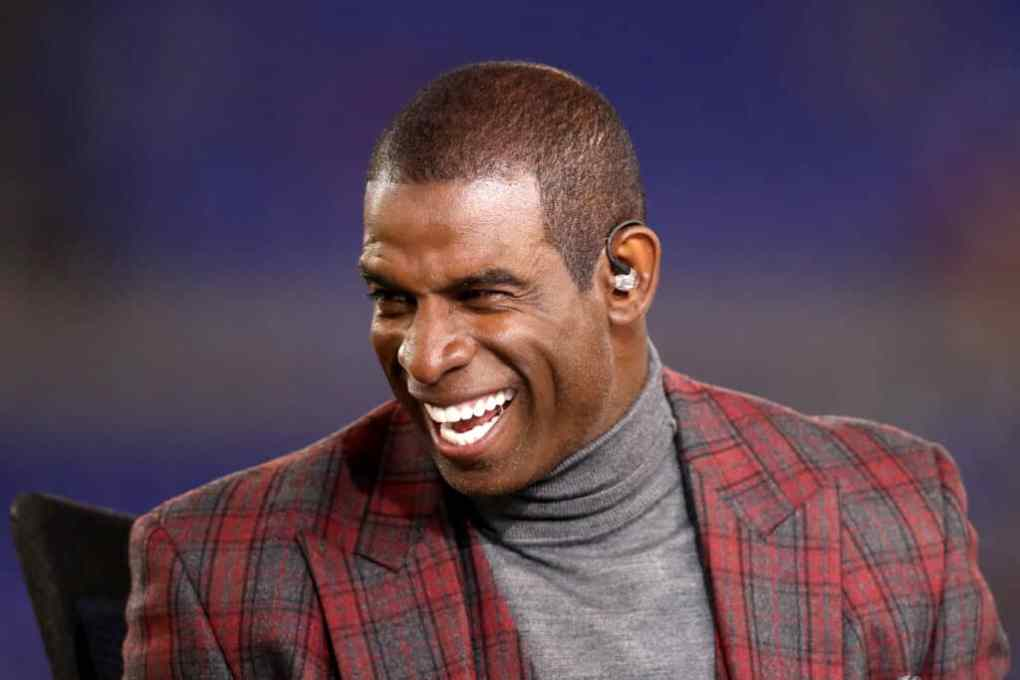 NFL Network analyst Deion Sanders appears on set during the Baltimore Ravens and Miami Dolphins game at M&T Bank Stadium on October 26, 2017 in Baltimore, Maryland.