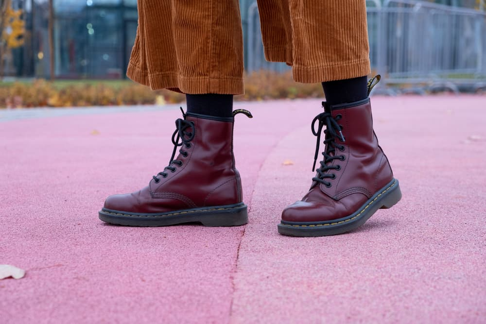 Red classic dr martens boots automn shooting