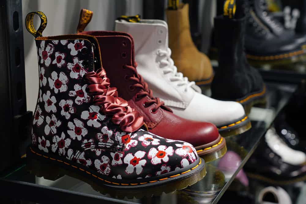 Shoes inside a Dr. Martens shoe store in New York City