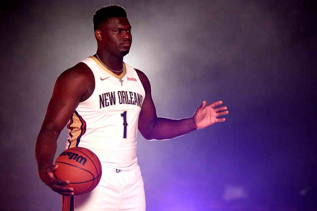 Zion Williamson #1 of the New Orleans Pelicans poses for photos during Media Day at Smoothie King Center on September 27, 2021 in New Orleans, Louisiana.