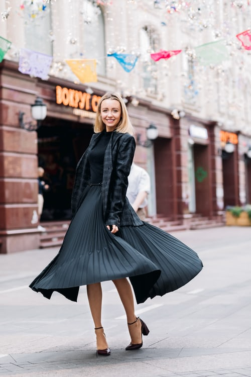 black dress black shoes