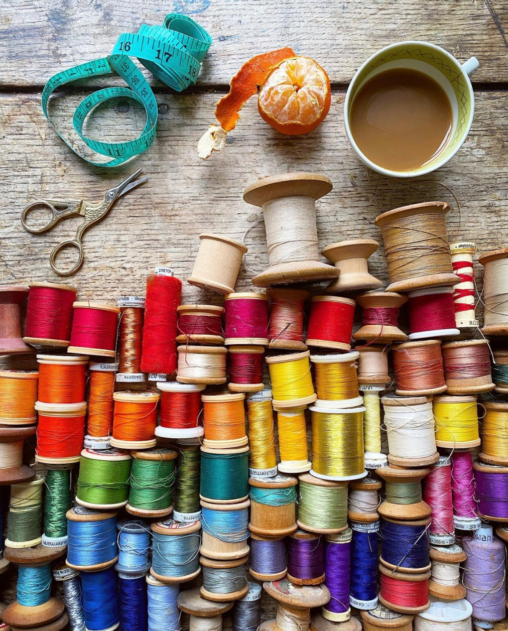 Philippa's vast collection of colourful cotton reels, which have been turned into a jigsaw puzzle.