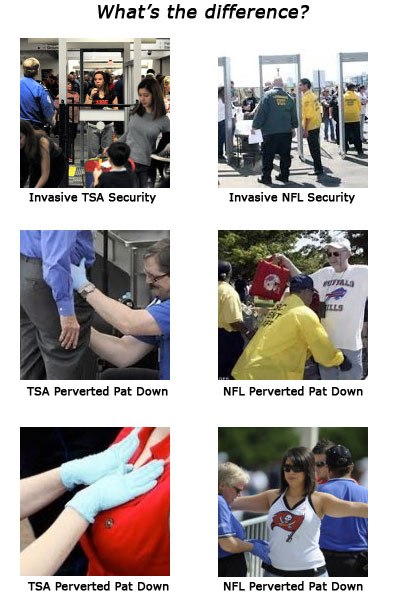TSA and the National Football Leagues. Both violate the 4th Amendment. Neither organization has caught even one terrorist.