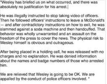 ferguson arresting reporters news release