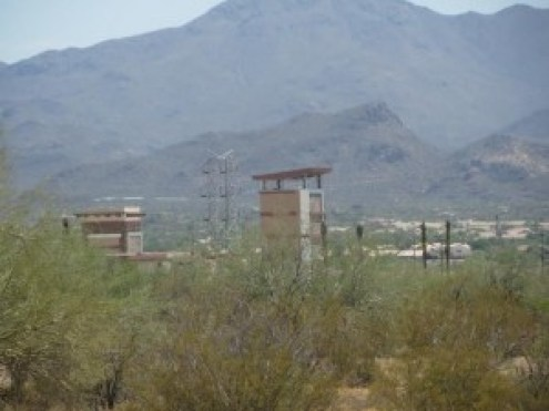 Marana mall in the middle of nowhere next to railroad tracks.