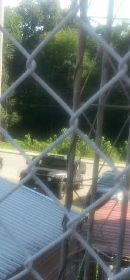 An example of the militarization of this small town as evidenced by this black MWRAP.