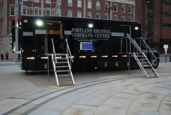 PORTLAND, Maine -- -- A new mobile command unit to be used by Portland and South Portland police and fire departments sits outside Portland City Hall on Monday. The unit doubles as a conference and communications center.