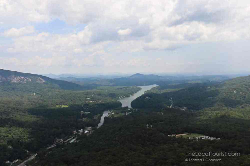 View of river and lake from top of Chimney Rock